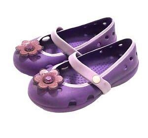 Crocs Keeley Petal Charm Toddler Girl Sz 8 Purple Mary Jane Slip On Water Sandal