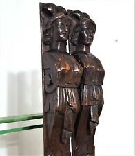 Pair lady caryatid carving corbel bracket Antique french architectural salvage