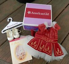 AMERICAN GIRL RUBY BALLET OUTFIT IN ORIGINAL BOX WITH SHOES, BOOK, AND HANGER