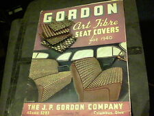 1940 Gordon Art Fibre Seat Covers with real samples of covers fibre  ed3