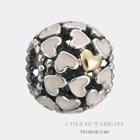 Authentic Pandora Silver & 14K Abundance of Love Pink Enamel Bead 791283EN40
