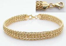 "6 3/4"" Bold Shiny Double Row Mirrored Byzantine Bracelet Real 14K Yellow Gold"