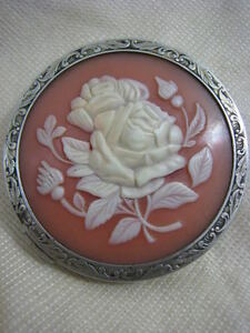Antique Russian 875 silver & Rose Cameo Compact