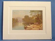 OLD WEIR BRIDGE KILLARNEY LAKES SUPERB QUALITY 1879 ANTIQUE DOUBLE MOUNTED PRINT