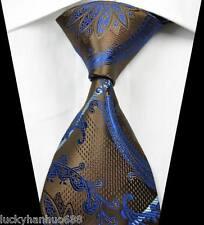 New Stripes Paisleys Brown Blue JACQUARD WOVEN 100% Silk Men's Tie Necktie