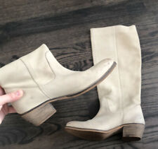 Diba White Beige Tall Butter Soft Suede Slouchy Heeled Pull On Boots Womens 6.5