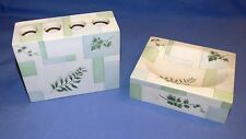 Ceramic Soap Dish & Toothbrush Holder - McKinley -Hand Painted Ivy/Fern Pattern