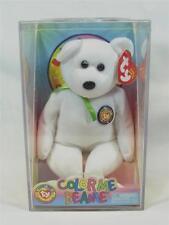 Ty Beanie Babies COLOR ME BEANIE White Teddy Bear Plastic Case & Kit #4989
