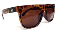 BROWN TORTOISE GOLD MARIJUANA WEED LEAF SQUARE SUNGLASSES RETRO HIP HOP VTG 420