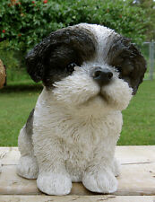 6.5 Inch Shih Tzu Puppy Figurine resin animal Statue Pet Black/ White Dog Sits