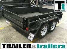 "15"" High Sides Box Trailer 10x5 NEW TYRES Tandem Heavy Duty  full checker plate"