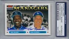 1993 Topps Signed # 507 McRae Lasorda Dodgers PSA Autographed