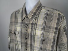 Wrangler Jeans Co. Button Up Shirt 3XL Plaid Black Gray Yellow Cotton Mens