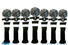 Tour 1 3 5 7 9 11 13 Driver Fairway Wood Green White Golf Headcover Knit Pom Pom