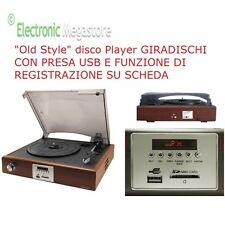 GIRADISCHI OLD DISC ALTOPARLANTI INCLUSI PRESA USB REC SU USB SD 33/45/78 GIRI