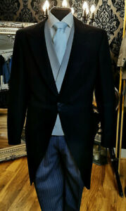 MENS DARK NAVY TWO PIECE WOOL TAILCOAT / WEDDING / MORNING SUIT TAILS MJ-205