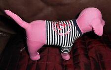 "Victoria's Secret Pink Dog PORT AU PINK Navy Blue & White Shirt 8"" Plush EUC"