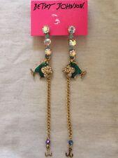 Betsey Johnson Shell Shocked Goldtone Green Enamel Fish Chain Hook Long Earrings