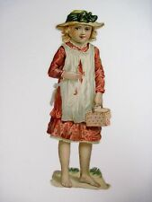 Vintage Die Cut of Barefooted Girl Carrying A Lunch Basket (N)*