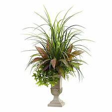 Nearly Natural 6827 Mixed Grass- Dracena- Sage Ivy & Fern with Planter- 3' NEW