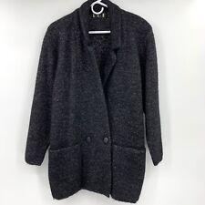 P.G.E. Black Metallic Wool Mohair Long Button Cardigan Sweater Pockets Women's L