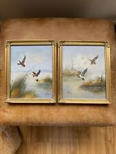 Beautiful Pair Gold Gilt Photo Picture Swept Frame Rococo Baroque Ducks Painting