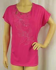 W.LANE Pink Applique Short Sleeve Soft T-Shirt Tunic Top Size M 14 BNWT # Y92