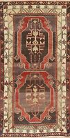 Geometric Turkish Anatolian Oriental Ushak Rug 3x6 Hand-Knotted Kitchen Carpet