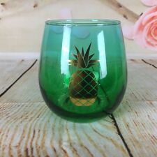 Slant Collection Stemless Wine Glass Gold Pineapple Green 20 Ounce Glass