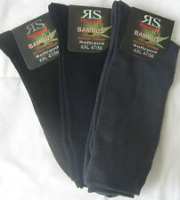 3 Pairs oversize XXL Bamboo Socks Soft rim without elastic black blue grey 47 50