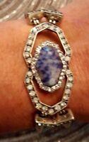 Lapis Lazuli  Stone Antique Silver Toggle Bracelet