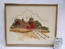 Vintage  Framed Crewel Work Farm Red Barn Silo Scene Sunset Designs 2481 1970s