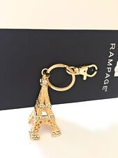 Eiffel Tower Keychain Keyring Rhinestone Rampage with claw ring bag pendant NWT