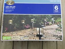 New LED SOLAR PATHWAY LIGHT KIT BLACK FINISH OUTDOOR PATIO 6 PACK
