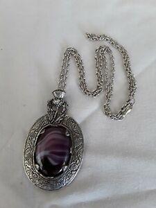 Miracle Scottish glass agate purple pendant necklace