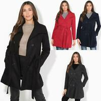 Women Warm Winter Parka Belted Fitted Ladies Military A Line Classic Coat Jacket