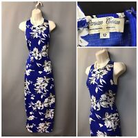 Parisian Collection Blue White Floral Sleeveless Maxi Pencil Dress UK 12 EUR 40