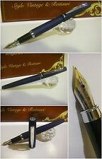 stilografica Regal British Blù Satinato fountain pen - Stylo Nib Rhodium siz. Mf