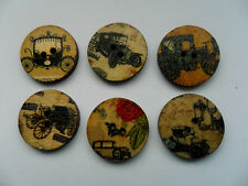 24 pcs Mixed Vintage Style Old Cars  Wood  Scrapbooking // Sewing Buttons 20mm