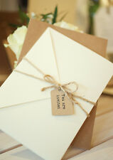 1 Rustic Ivory pocket wedding invitation/RSVP/menu 'Claire' SAMPLE & twine/tag