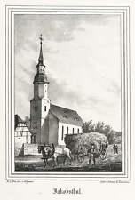 Jacobsthal (Zeithain) - Dorfkirche-Lithographie 1841