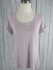 Women's TALBOTS Purple White Striped Round Neckline Short Sleeve Shirt ,Sz Large