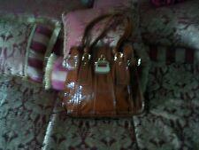 Women's Handbag,  Brown Patent Faux Ostrich  Hanbag, By Linear, Unused Handbag