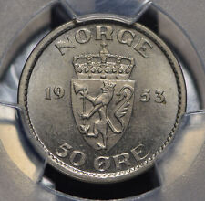 Norway 1953 50 Ore PCGS MS64 PC0499 combine shipping