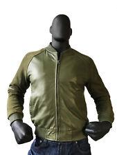 Jakewood Men's Lambskin Olive Green Suede Baseball Varsity Jacket, Size XL