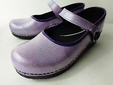 Sanita EUR 39 US 8 8.5M Lavender Purple Coated Leather Mary Jane Nurse Clog Shoe