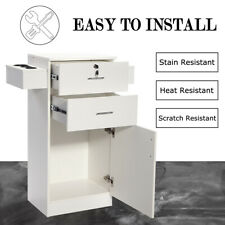 Beauty Salon Cabinet Storage Locking Stylist Equipment w/Hair Dryer Holder White