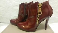 BCBG Alessio High-Heel Leather Ankle Booties Burgundy Sz 8.5 or 38.5 SRP $288