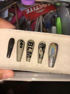 Custom Press on nails Long Coffin/Ballerina Gel Nails Glue on Nails BLM