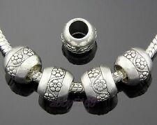 30pcs Tibetan Silver Flower Charm Beads Big Hole Fit Bracelet ZN134